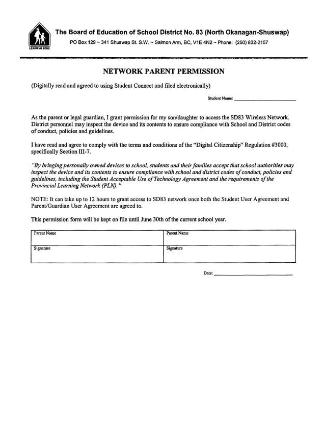 Network Parent Permission