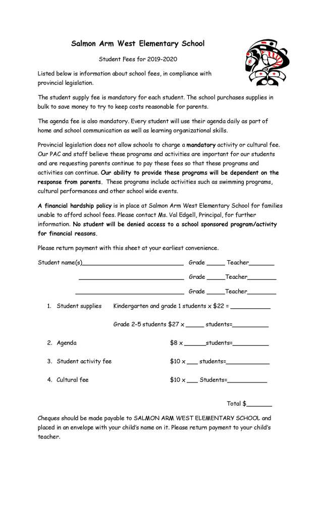 School Fees Letter 2019-2020